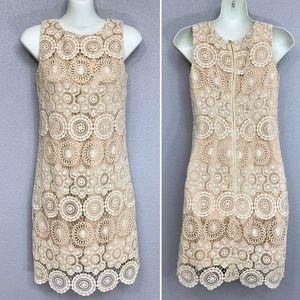 Eliza J ivory and tan crochet lace sheath dress 0P